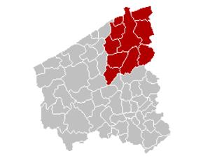 West Flanders - Image: Arrondissement Brugge Belgium Map