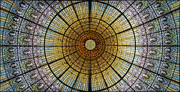 Art Nouveau stained glass window, Palau de la Musica Catalana, Barcelona.jpg