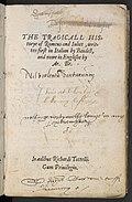 Il poema di Arthur Brooke, frontespizio