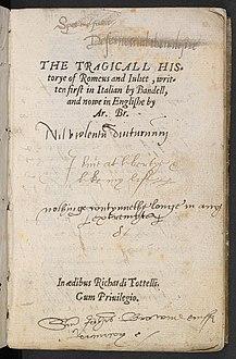 <i>The Tragical History of Romeus and Juliet</i> 1562 narrative poem by Arthur Brooke