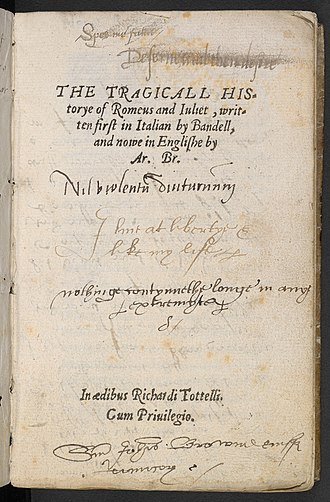 Romeo and Juliet - Title page of Arthur Brooke's poem, Romeus and Juliet.