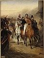 Ary Scheffer - Louis-Philippe duc d'Orléans reçoit à la barrière du Trône, le 1er régiment de Hussards (1836).jpg