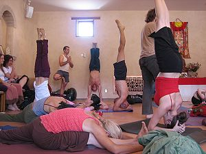 People in various yoga asanas. Original title ...