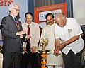 Ashok Gajapathi Raju Pusapati lighting the lamp to inaugurate the International Civil Helicopters Conclave 2015, in New Delhi. The Minister of State for Culture (Independent Charge).jpg