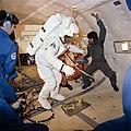 Astronaut C. Gordon Fullerton in donning-doffing exercise experiences.jpg