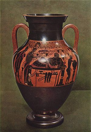 Belly Amphora by the Andokides Painter (Munich 2301) - Black-figure side of the amphora.