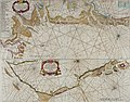 Atlas maritimus, or A book of charts - Describeing the sea coasts capes headlands sands shoals rocks and dangers the bayes roads harbors rivers and ports, in most of the knowne parts of the world. (14566992177).jpg