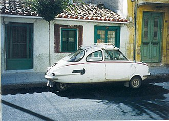 Attica (automobiles) - Attica 200 (1963). The car seems at home in the old part of a Greek provincial town.