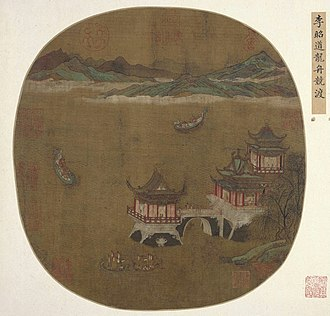 Dragon boat - Tang dynasty painting of a dragon boat race attributed to Li Zhaodao