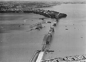 Auckland Harbour Bridge - The bridge under construction in 1958