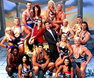 Gladiators (1995 Australian TV series) - Hosts Kimberley Joseph and Mike Hammond with the Gladiators from Series 3