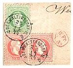 Austria fragment with 1874 3 and 5kr OBERWALTERSDORF.jpg