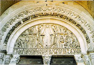Autun Cathedral - Last Judgment by Gislebertus in the west tympanum.