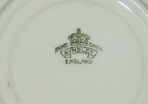 Aynsley China - Aynsley marking on rear of bone china plate.