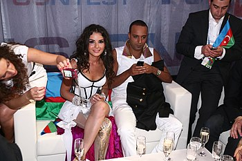 Aysel and Arash in the Green Room during the 2009 Eurovision Song Contest in Moscow - List of Azerbaijanis