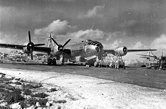 Japanese air attacks on the Mariana Islands - A B-29 undergoing maintenance on Saipan