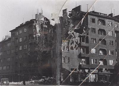 Destruction in the capital of Sofia as a result of the Anglo-American bombings over Bulgaria. BASA-45K-1-18-3-Graf-Ignatiev-Ferdinand-Blvd-crossing-Sofia-WW2.jpg