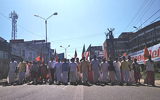 Hartal mass protest, often involving a total shutdown of workplaces