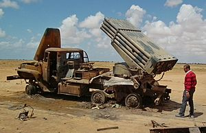 Opération Harmattan - BM-21 Grad multiple rocket launcher of the Libyan army, destroyed during the first attack wave on March 19.