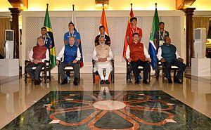2016 BRICS U-17 Football Cup - BRICS leaders with captains of the U-17 football teams.