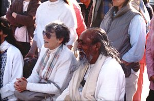 Baba Hari Dass - Baba Hari Dass and Ma Renu, watching annual volleyball competition at Mount Madonna Center, July 1998