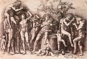 Bacchanal with vat, engraving