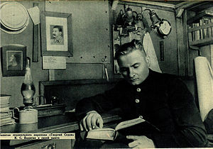 Konstantin Badygin - Badigin in the cabin of steamship Georgy Sedov