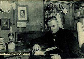 Konstantin Badygin - Badigin in the cabin of steamship Georgy Sedov