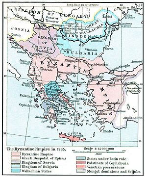 Serbia in the Middle Ages - Balkan Map that includes Serbian Kingdom in 1265