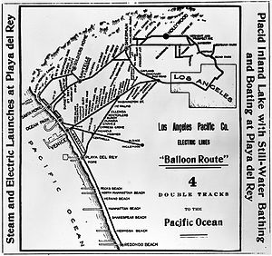 Moses Sherman - Los Angeles Pacific Railroad- Balloon Route map, 1905