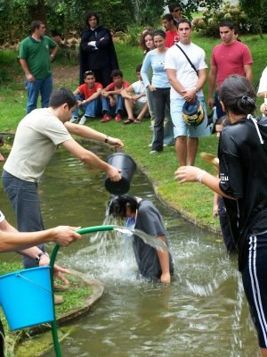 "Praxe - Freshman being ""baptized"" by older students"