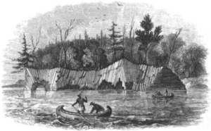 Richard Owen (geologist) - One of Owen's sketches of columnar basalt on Lake Superior