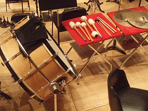 English: Percussion instruments, including a b...