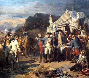Jean-Baptiste Donatien de Vimeur, comte de Rochambeau - Bataille de Yorktown by Auguste Couder. Rochambeau and Washington giving their last orders before the battle.