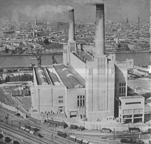 Battersea Power Station - Battersea power station was built in two phases. This is the power station in 1934, with the first phase operational