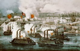 Bombardement en inname van Fort Hindman, Arkansas Post op 11 januari 1863, door Currier en Ives.