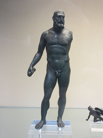 Roman bronze statuette of Hermes found in Bavay, now in the British Museum Bavay Statuette.JPG