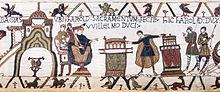 Détail de la Tapisserie de Bayeux figurant la scène du serment de Harold II