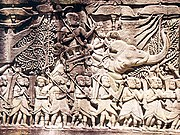 A Khmer army going to war against the Cham, from a relief on the Bayon