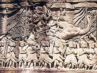 Cambodia - Khmer army going to war against the Cham, from a relief on the Bayon.