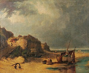 Norwich School of painters - Beach Scene, Mundesley, Norfolk by Robert Ladbrooke