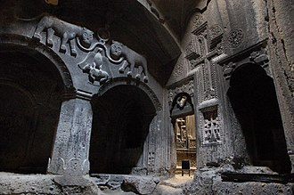 Monolithic church - Geghard Monastery in Armenia, founded in 4th century