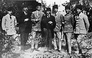 Turkish National Movement - Prominent nationalists at the Sivas congress. Left to right: Muzaffer Kılıç, Rauf Orbay, Bekir Sami Kunduh, Mustafa Kemal Atatürk, Ruşen Eşref Ünaydın, Cemil Cahit Toydemir, Cevat Abbas Gürer