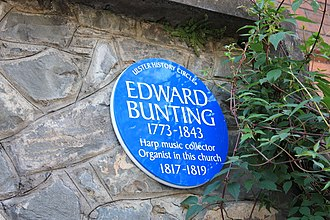 Edward Bunting - Edward Bunting plaque, St George's Church, High Street, Belfast, October 2009