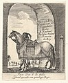 Beneath an archway, a groom holds the bridle of a horse shown in profile, facing left, the title page for 'Various cavalry exercises' (Diverses exercices de cavalerie) MET DP833159.jpg