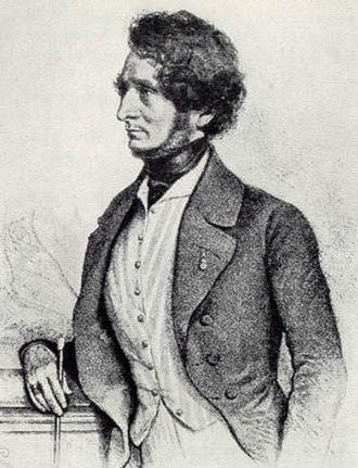 Hector Berlioz - Lithograph of Berlioz by August Prinzhofer, Vienna, 1845. Berlioz considered this to be a good likeness.