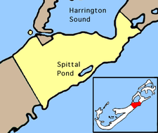 Map showing the location of Spittal Pond Nature Reserve, Bermuda