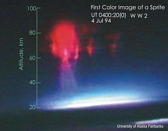 Sprite (lightning) - First color image of a sprite, taken from an aircraft