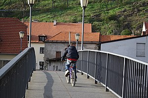 Biker at bikeway 401 in Třebíč, Třebíč District.jpg