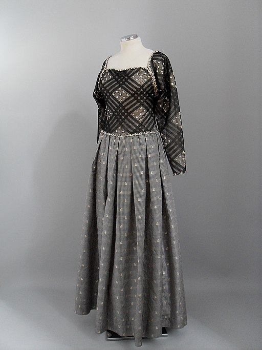 Black, grey and white evening gown by James Galanos. America, 1980